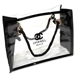 CHANEL Beaute PVC Vinyl Clear Cosmetic Bag Make Up